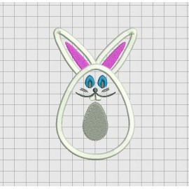 Easter Egg Bunny Applique Embroidery Design in 4x4 5x5 and 6x6 inch Sizes