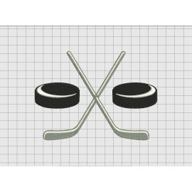 Hockey Crossed Sticks Simple Full Stitch Embroidery Design in 2x2 3x3 4x4 5x5 6x6 and 7x7 Sizes