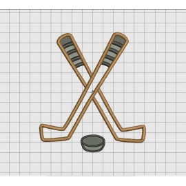 Hockey Crossed Sticks Applique Embroidery Design in 4x4 5x5 6x6 and 7x7 Sizes