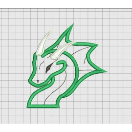 Dragon Head Applique Embroidery Design in 3x3 4x4 5x5 and 6x6 Sizes