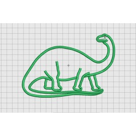 "Brontosaurus Apatosaurus Dinosaur Applique Embroidery Design in 4x4 5x7 and 6x10"" Sizes"