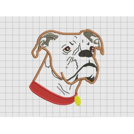 Boxer Dog Face Portrait Applique Embroidery Design in 3x3 4x4 5x5 6x6 and 7x7 Sizes