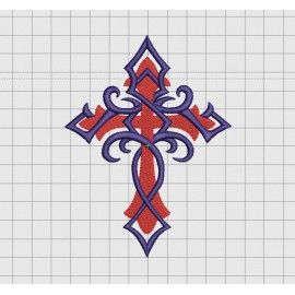 Cross Tribal Vine Wrap Fill Stitch Embroidery Design in 2x2 3x3 4x4 5x5 and 6x6 inch Sizes
