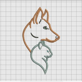 Dog and Cat Applique Embroidery Design in 4x4 5x5 6x6 and 7x7 Sizes
