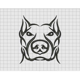 Pit bull dog tribal tattoo embroidery design in 3x3 4x4 for 3x3 tattoo ideas