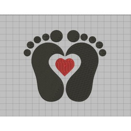 Feet with Heart Embroidery Design in 1x1 2x2 3x3 4x4 5x5 6x6 and 7x7 Sizes