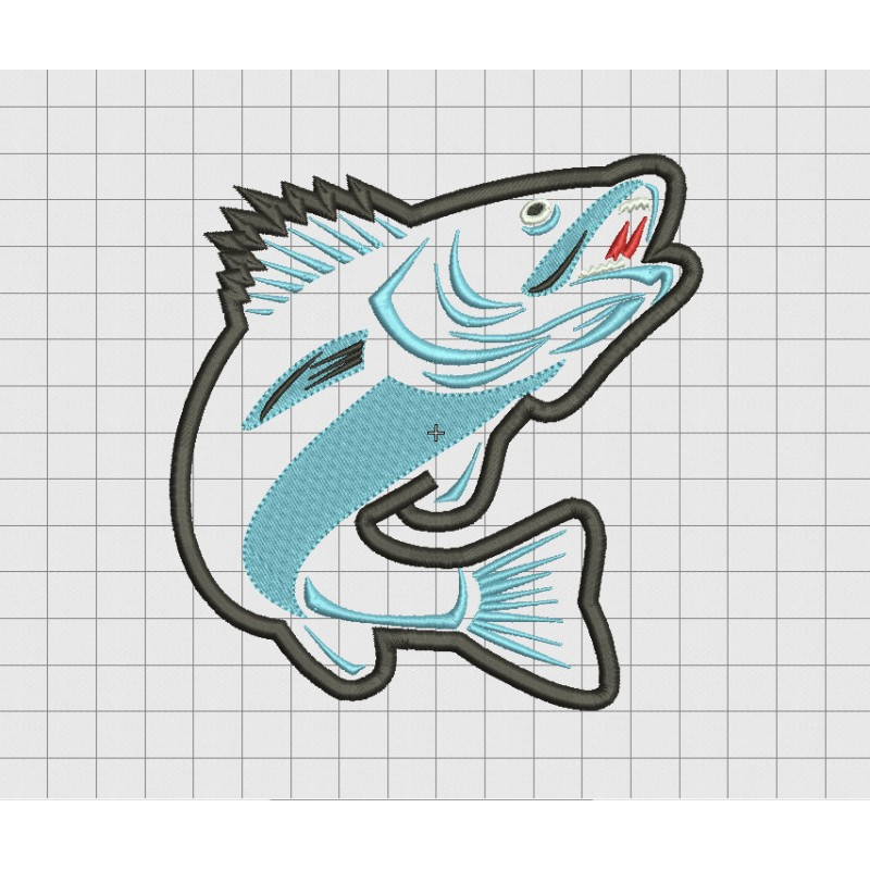 Fish Jumping Applique Embroidery Design In 4x4 5x5 And 6x6 Sizes