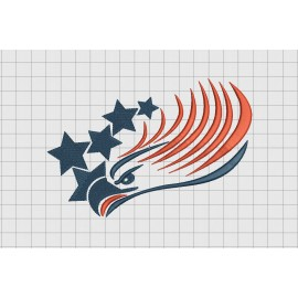Eagle Outline with Stars Embroidery Design in 3x3 4x4 and 5x7 Sizes