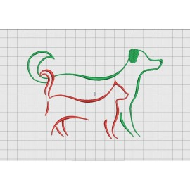 Cat and Dog Friends Outline Embroidery Design in 2x2 3x3 4x4 and 5x7 Sizes
