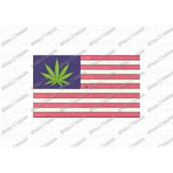 Marijuana USA Flag Cannabis Leaf Embroidery Design in 4x4 and 5x7 Sizes