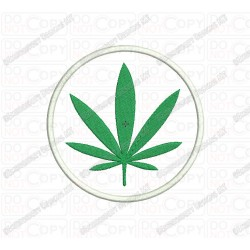 Marijuana Cannabis Leaf Circle Applique Embroidery Design in 2x2 3x3 4x4 and 5x5 Sizes
