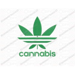 Cannabis with Text Leaf Embroidery Design in 3x3 4x4 and 5x5 Sizes