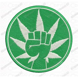 Power Fist Weed Leaf Marijuana Cannabis Embroidery Design in 2x2 3x3 4x4 and 5x7 Sizes