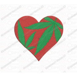 Heart Marijuana Cannabis Leaf Embroidery Design in 2x2 3x3 4x4 and 5x5 Sizes