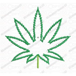 Marijuana Cannabis Leaf Applique Embroidery Design in 3x3 4x4 and 5x7 Sizes