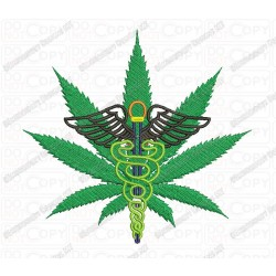 Medical Marijuana Cannabis Leaf with Caduceus Embroidery Design in 3x3 4x4 and 5x7 Sizes