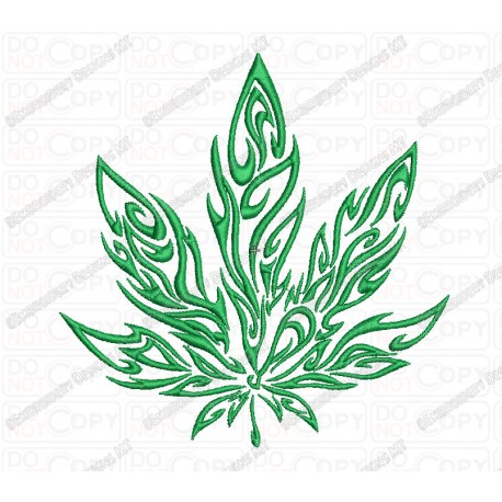 Marijuana Tribal Flame Cannabis Leaf Embroidery Design in 3x3 4x4 and 5x7 Sizes