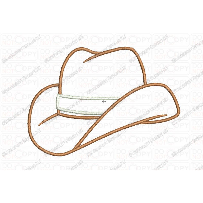Cowboy Hat 2 Layer Applique Embroidery Design in 3x3 4x4 and 5x7 Sizes c8ac791193c