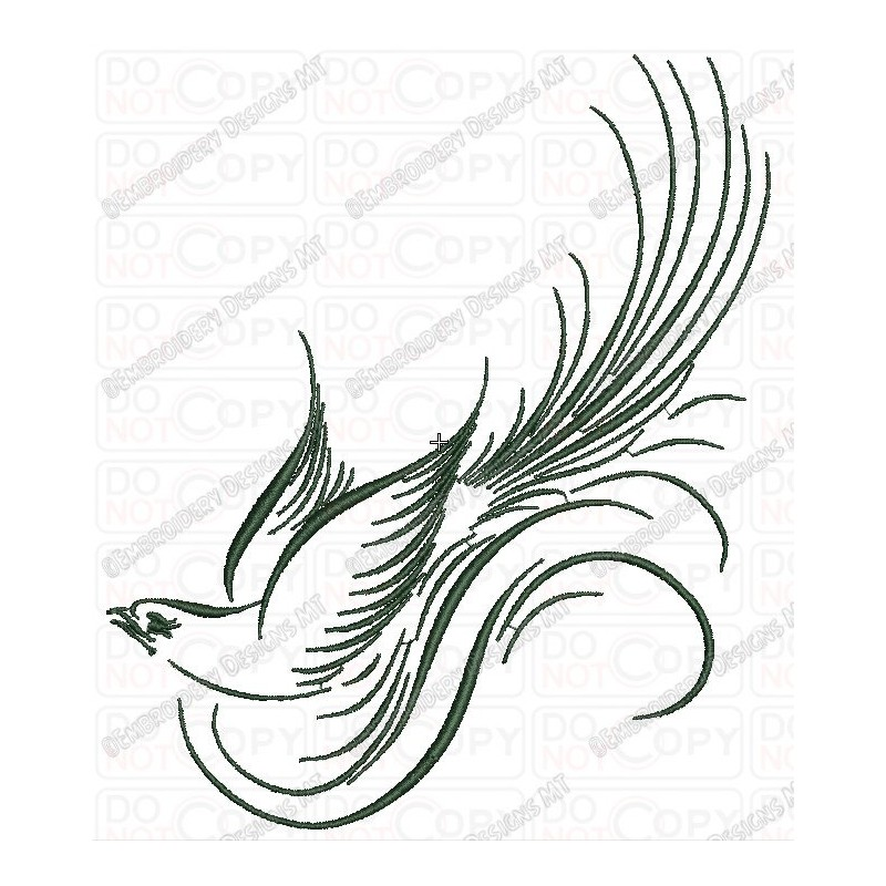 Calligraphy Fancy Bird Embroidery Design In 4x4 And 5x7