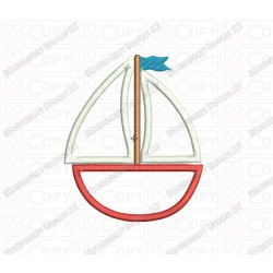 Sailboat 2 Layer Applique Embroidery Design in 3x3 4x4 and 5x5 Sizes