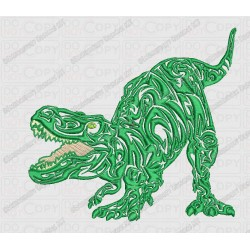 Angry Tribal T-rex Dinosaur Embroidery Design in 4x4 and 5x7 Sizes