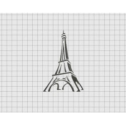Eiffel Tower Angled Outline Embroidery Design in 2x2 3x3 4x4 5x5 and 6x6 Sizes