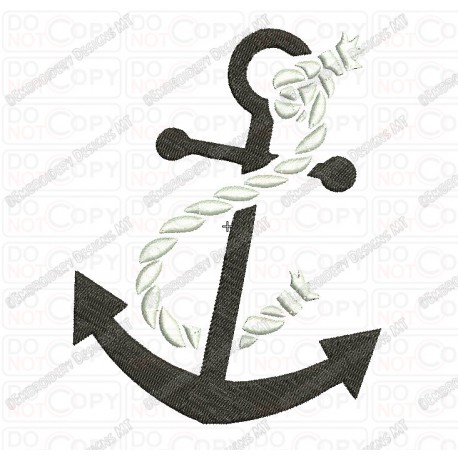 Anchor with Rope Embroidery Design in 2x2 3x3 4x4 and 5x7 Sizes