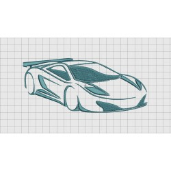 Fast Exotic Car Embroidery Design in 3x3 4x4 and 5x7 Sizes