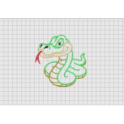 Snake Full Body 3 Layer Applique Embroidery Design File in Sizes 4x4 5x5 and 6x6